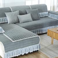 冬季毛绒防滑沙发垫韩式四季布艺坐垫全盖通用实木全包靠背套罩巾
