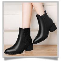 马丁靴女鞋秋冬季2017新款加绒英伦风平跟平底棉鞋短靴女靴子 GQ8529