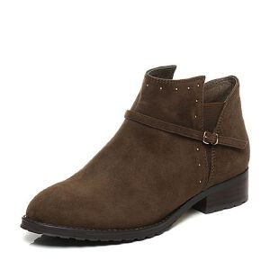 Tata/他她2017秋羊绒皮职场通勤皮带扣套筒女短靴14832CD7