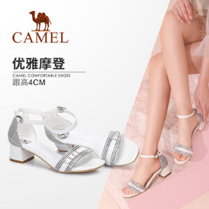 Camel/骆驼女鞋 2018夏季新品 优雅摩登复古格子鞋面方跟时尚凉鞋
