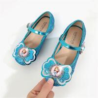 韩版秋季新款卡通艾莎公主鞋甜美蝴蝶结女童单鞋亮片冰雪奇缘中大童高跟鞋