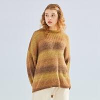 【1件3折到手价:119.7】美特斯邦威渐变色毛衣女春装2020款女韩版条纹撞色宽松毛织套头衫
