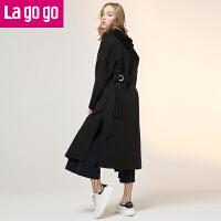 【清仓3折价379.8】Lagogo/拉谷谷2019年冬季新款时尚翻领大衣