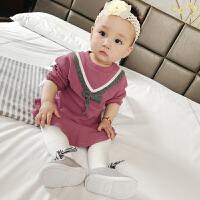 婴儿裙子女童儿童细带蝴蝶结连衣裙宝宝毛线针织长袖荷叶边裙
