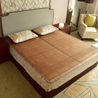 竹席凉席1.8m床三件套双面折叠竹凉席1.5米夏季双人席子 镜面单件 1.8m(6英尺)床