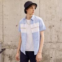 【1件3折价:50.7,可叠券】美特斯邦威短袖衬衫男夏装时尚个性青少年大循环定位短袖衬衫