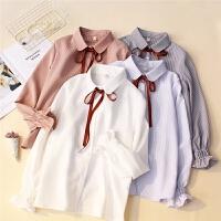 女装韩版新款春装时尚百搭气质学院风飘带条纹翻领长袖衬衫女