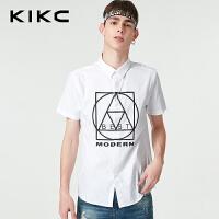 kikc短袖衬衫男2018夏季新款青年白色纯棉潮流线条几何印花衬衣男