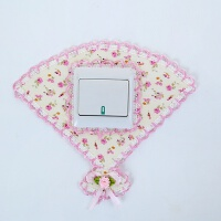 布艺蕾丝灯开关保护套客厅欧式亚克力开关贴现代简约装饰墙贴插座 米白色 粉花扇形