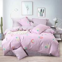 水星出品 百丽丝家纺 全棉印花四件套磨毛卡通居家套件床单被套床上用品