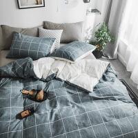 纯棉四件套全棉条格床品套件1.8/1.5m床上用品被套床单宿舍三件套 阿森斯 灰