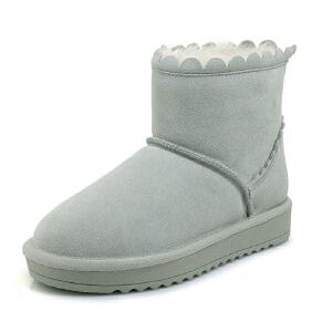 WARORWAR 2019新品YG29-S18-X20冬季欧美磨砂反绒牛皮真皮皮毛一体低底舒适女鞋潮流时尚潮鞋百搭潮牌雪地靴