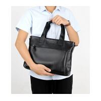 新款男士手提包横款公文包时尚户外韩版商务真皮斜挎包包大容量电脑包