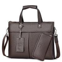 男包横款商务公文包单肩斜挎包15.6寸电脑真皮男士包包牛皮手提包