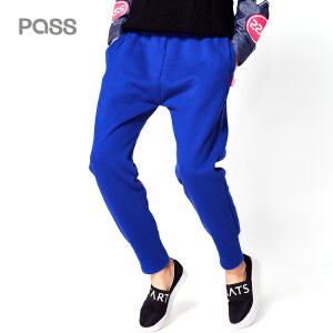 【不退不换】PASS秋冬新款运动裤女休闲长裤哈伦卫裤加厚显瘦松紧腰小脚裤