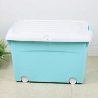 家居生活用品塑料箱收纳箱百纳储物箱带锁孔带盖有滑轮收纳盒整理箱
