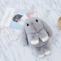 韩版毛绒萌兔子包包装死兔儿童背包仿獭兔毛皮草链条单肩斜跨女包