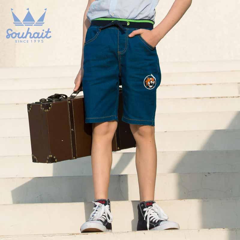 【3件3折:71.7元】水孩儿souhait童装男童运动裤短夏薄款儿童裤子五分裤休闲AKRXL550 男童爆款夏季5分梭织牛仔裤,弹力螺纹腰,穿脱方便