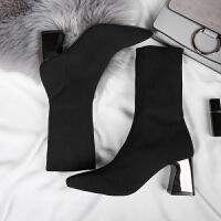袜子靴女2017秋冬新款欧美女鞋粗跟毛线针织弹力靴高跟中筒靴女靴