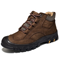 登山鞋男冬季加绒保暖棉鞋真皮高帮户外防滑防水雪地靴