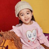 【1件2折到手价:39.8】moomoo童装女婴童套头毛衣新款冬季爱心图案女宝宝儿童毛衫
