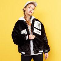 美特斯邦威2017冬新款复古绒面夹克棉服女小个子短款外套商场款
