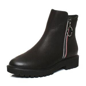 Teenmix/天美意2017冬黑色油蜡牛皮简约舒适方跟女短靴(绒里)60A52DD7