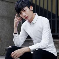 白衬衫男长袖保暖衬衣韩版修身商务男装秋冬季加绒加厚上班寸衫潮 白色 四季款