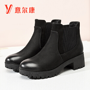 意尔康2018秋冬新款反绒皮防水台粗跟高跟切尔西靴女短靴