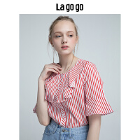 Lagogo2019夏季新款红白条纹衬衫女开叉荷叶边中短袖休闲宽松上衣HACC225Y22
