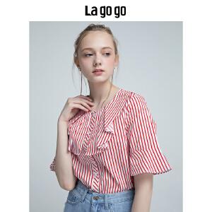 Lagogo2018夏季新款红白条纹衬衫女开叉荷叶边中短袖休闲宽松上衣HACC225Y22