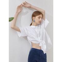 【1件3折到手价:117】纯棉MECITY女装夏季新款开叉口袋两穿设计感束腰衬衫