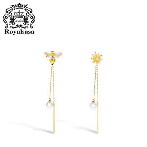 皇家莎莎韩国个性创意花朵925银针蜜蜂耳钉女耳坠简约耳环耳饰品
