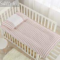 全棉儿童床垫幼儿园春夏褥子垫子宝宝小床垫被婴儿床纯棉花垫可洗 不可洗棉花垫芯+二个垫套 【拍下备注颜色】