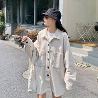 灯芯绒衬衫外套女春秋季新款韩版宽松复古港味百搭长袖设计感衬衣