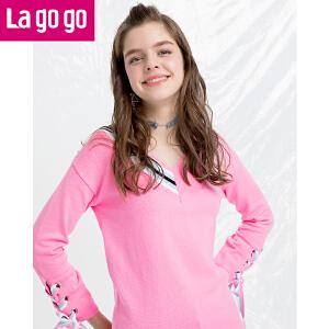 Lagogo拉谷谷2018春新款直筒套头学院风上衣袖口绑带V领针织衫女