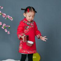 中国风绣花夹棉女童旗袍宝宝儿童唐装公主裙冬季旗袍礼服新年冬装 G13-05红色