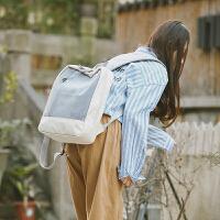 校园小清新文艺女包帆布双肩包复古拼色休闲学生包日韩新款时尚包