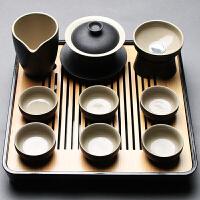 功夫茶具套装家用简约黑陶整套办公室干泡盘陶瓷茶壶茶杯盖碗日式