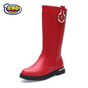 巴布豆童鞋 女童靴子2017新款女童鞋冬季高筒靴加绒公主靴冬靴潮