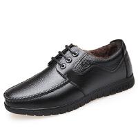 秋冬季新款男士皮鞋休闲皮鞋男士加绒皮鞋商务保暖百搭休闲棉鞋子真皮