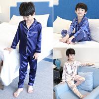 儿童睡衣夏天男童家居服长袖空调服中大童夏季