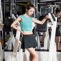 女士健身房跑步运动短裤裙 韩版健身服女下装黑灰色裤裙 时尚新品跑步裤裙子