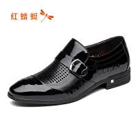 【红蜻蜓618开门红、领�患�100】红蜻蜓男鞋夏季新款皮鞋商务正装男士单鞋镂空透气低帮鞋