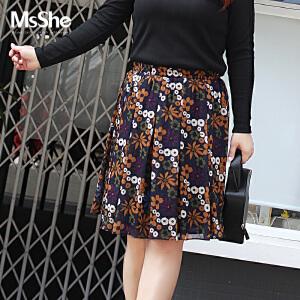 MsShe加大码女装2017新款秋季甜美印花雪纺半身裙百褶裙M1730277