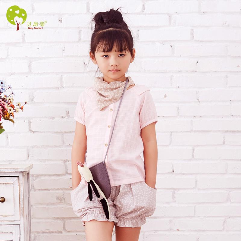 贝康馨 Baby Comfort 2016夏季新款童装纯棉韩版女童短袖衬衫 支持货到付款