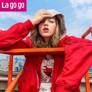 【清仓3折价111.9】Lagogo2019年秋季新款红色棒球衫潮百搭长袖夹克上衣连帽外套女