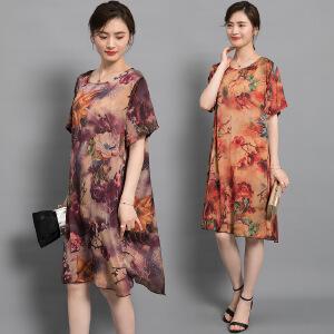 2018夏新款复古女装重磅高档桑蚕丝宽松显瘦印花真丝连衣裙