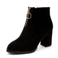 秋冬新款韩版女靴弹力短靴女高跟瘦瘦靴袜靴粗跟马丁靴前拉链单靴真皮 黑色