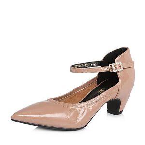Belle/百丽2018春季新品专柜同款皱漆皮牛皮尖头女单鞋S3D1DAQ8